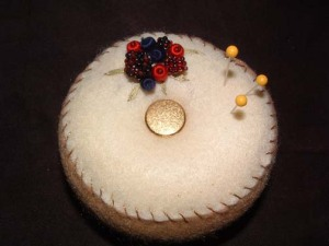 Beaded Berry/Berries Full Size Pincushion