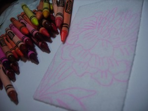 crayons for the marigold embroidery transfer