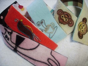 Embroidered Felt Bookmarks With Grossgrain Ribbon