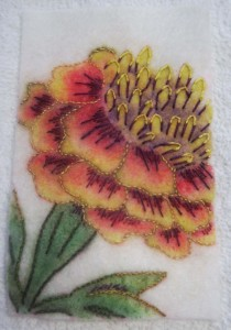 9 completed embroidered marigold